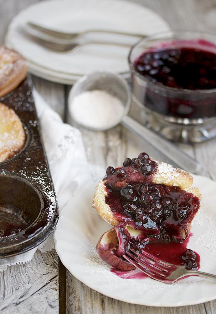 Mini Dutch Pancakes with Warm Blueberry Sauce