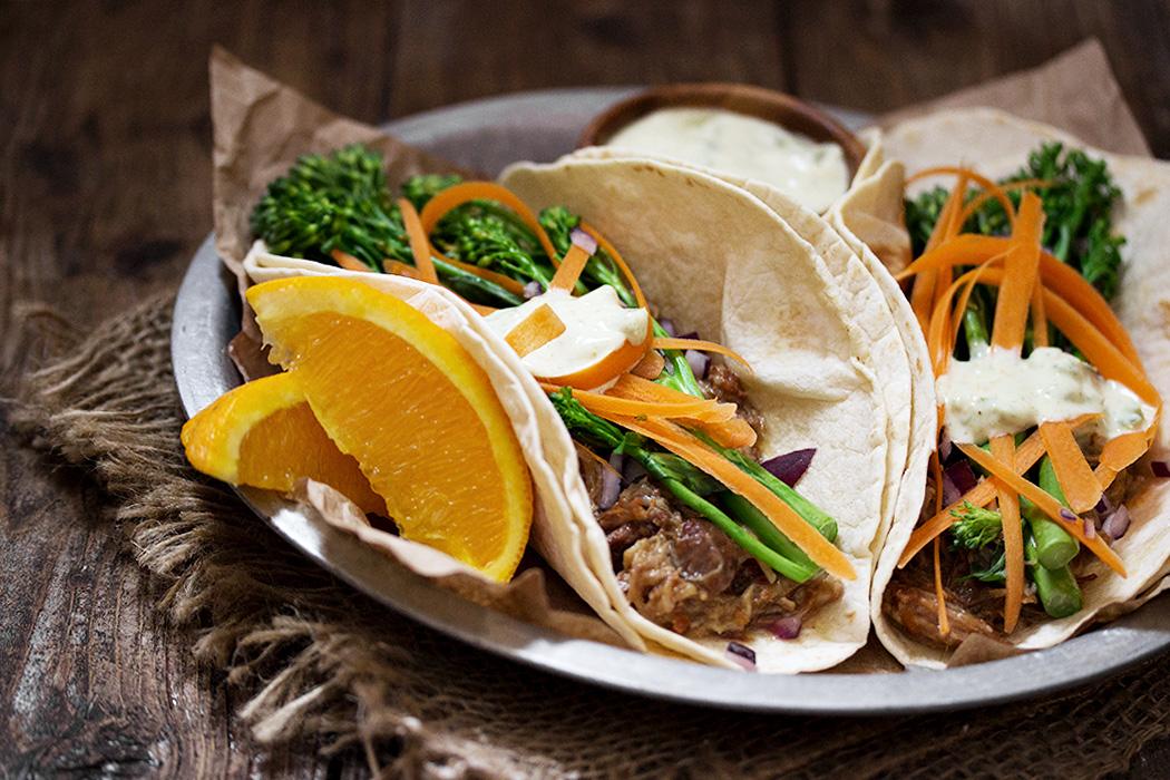 Slow Cooker Orange Pork Tacos with Broccolini
