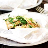 shrimp en papillote cooked in parchment