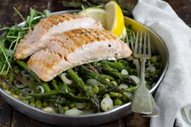 Butter Braised Asparagus, Leeks and Peas with Salmon