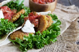 Falafel Pitas with Spicy Tomato Sauce