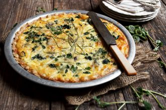Spring Fiddlehead and Herb Quiche
