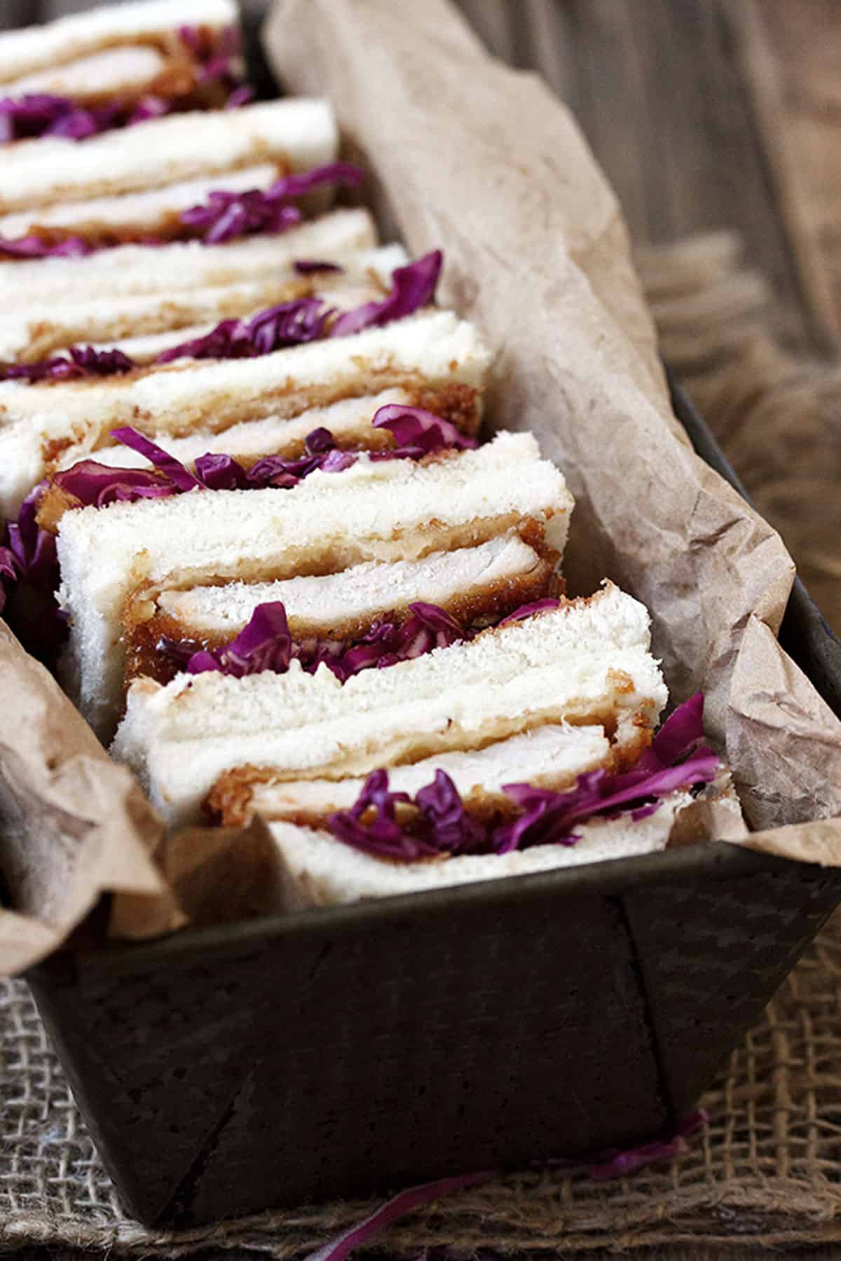 pork tonkatsu sandwiches in loaf pan