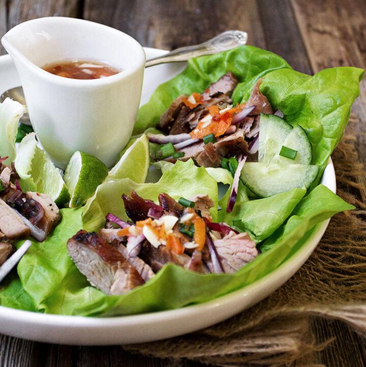 Vietnamese lettuce wraps on plate