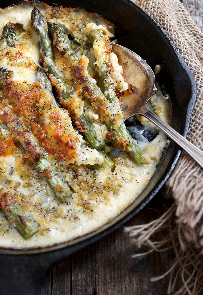 Skillet Asparagus Supreme - fresh asparagus, baked with a creamy cheese sauce and topped with buttered panko.