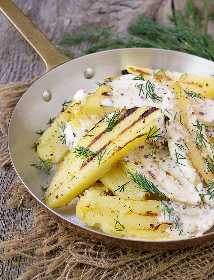 Grilled Potato Salad with Creme Fraiche Dressing and Dill
