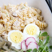 pasta salad on platter with hard boiled egg