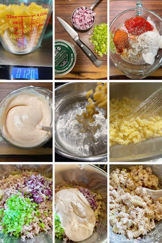photo collage of steps to make tuna pasta salad
