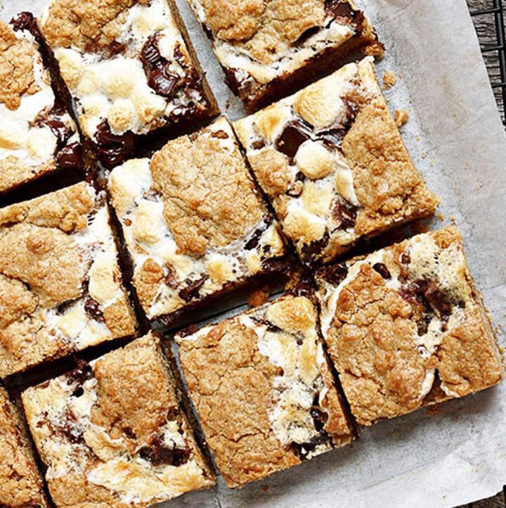 s'mores cookie bars cut on parchment