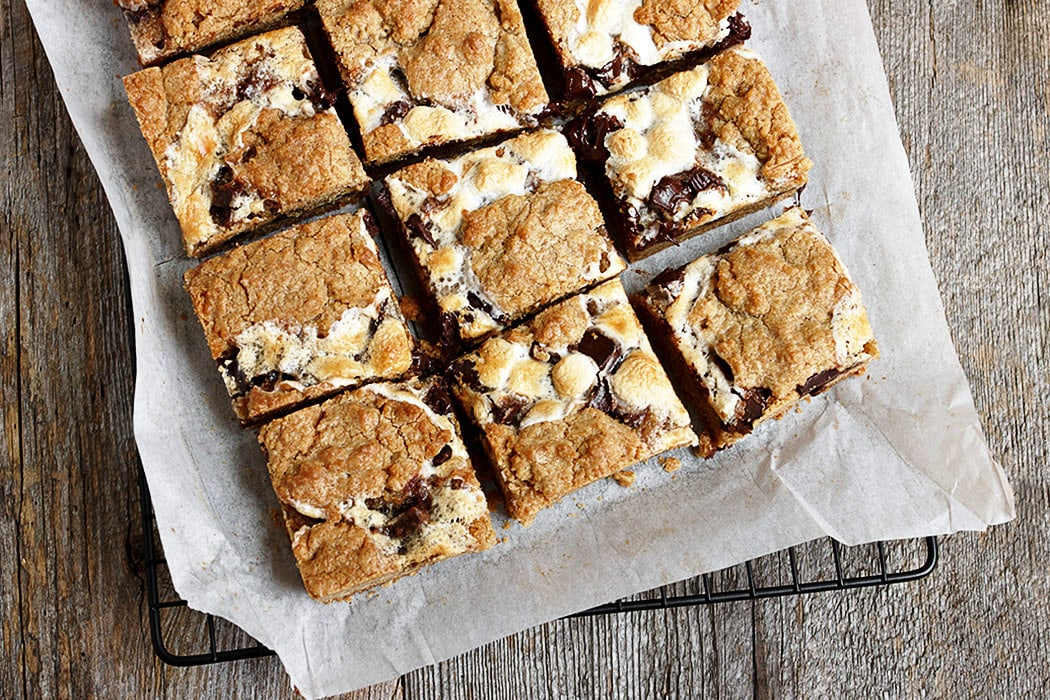 s'mores bars cut on parchment