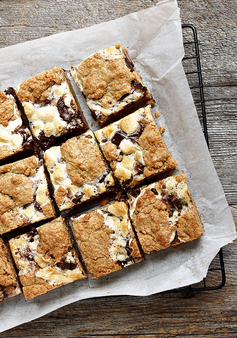 s'mores cookie bars cut on parchment