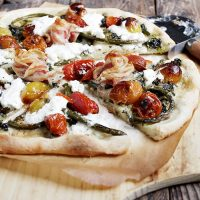 Garlic Scape and Burrata Pizza