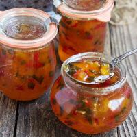 peach and pepper jam in jars