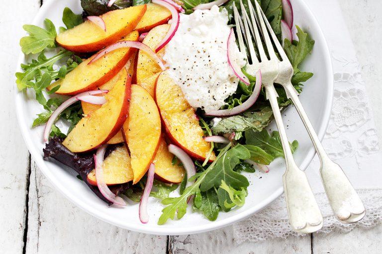 Pickled Peach and Burrata Salad