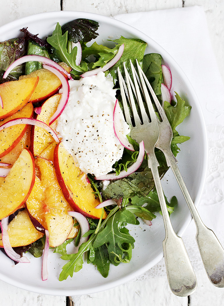 Pickled Peach and Burrata Salad