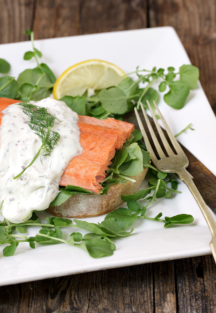 Open-faced Sockeye Salmon Sandwich with Watercress and Creamy Mustard Dressing
