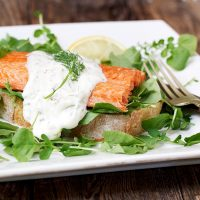 Open-faced Sokeye Salmon Sandwich with Watercress and Creamy Mustard Dressing