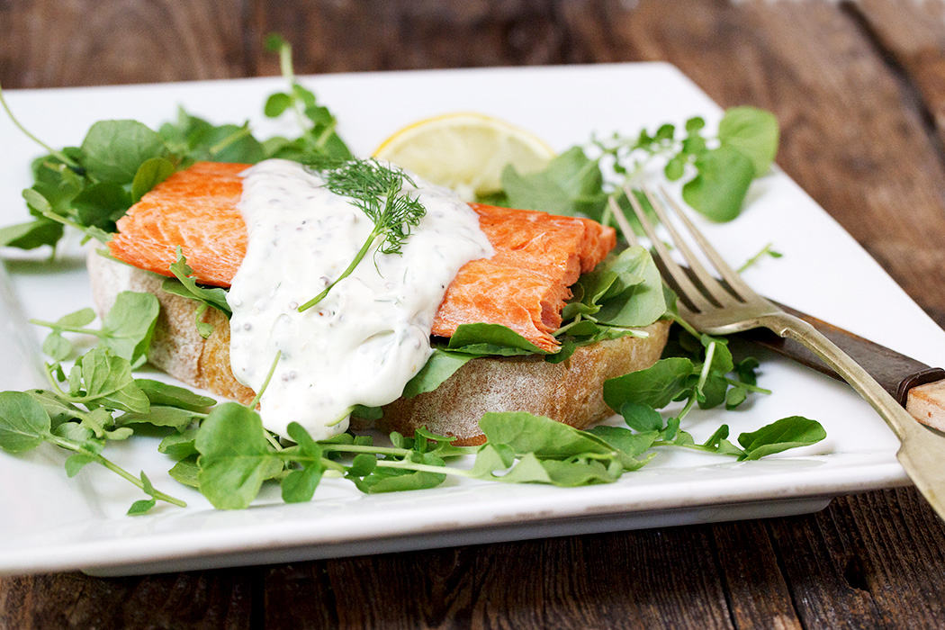 Open-faced Sockeye Salmon Sandwich with Creamy Dill Sauce ...