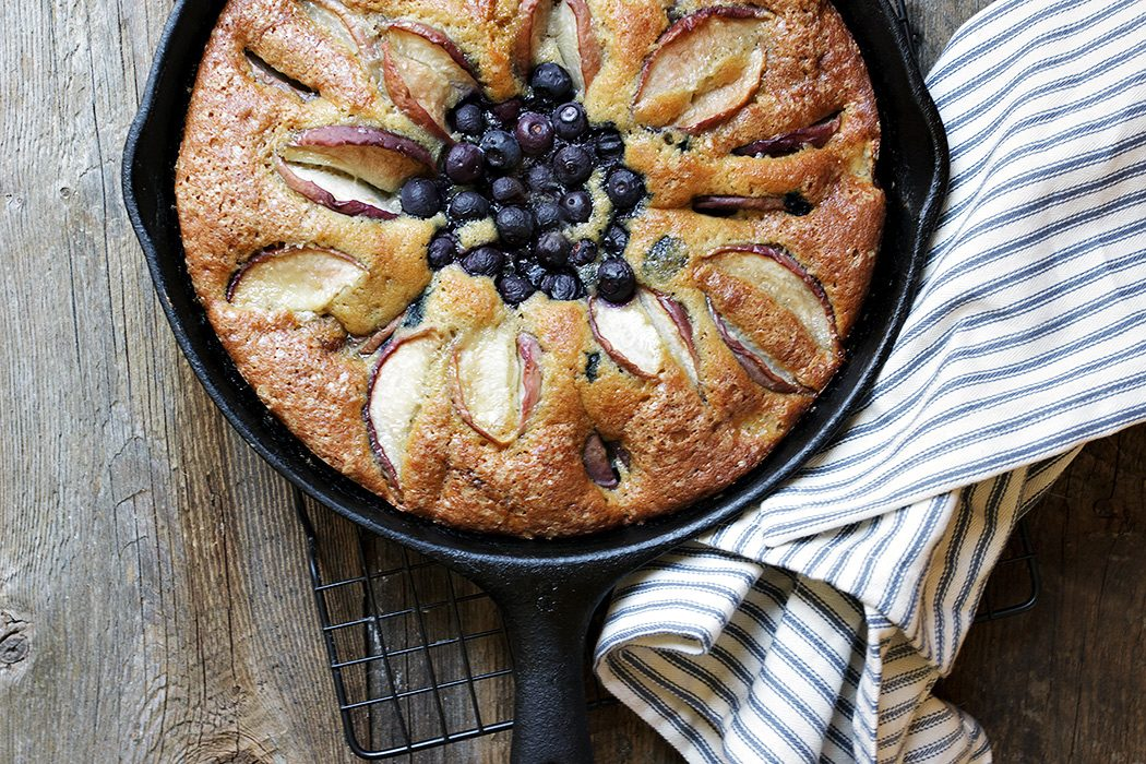 Skillet Peach and Blueberry Cake