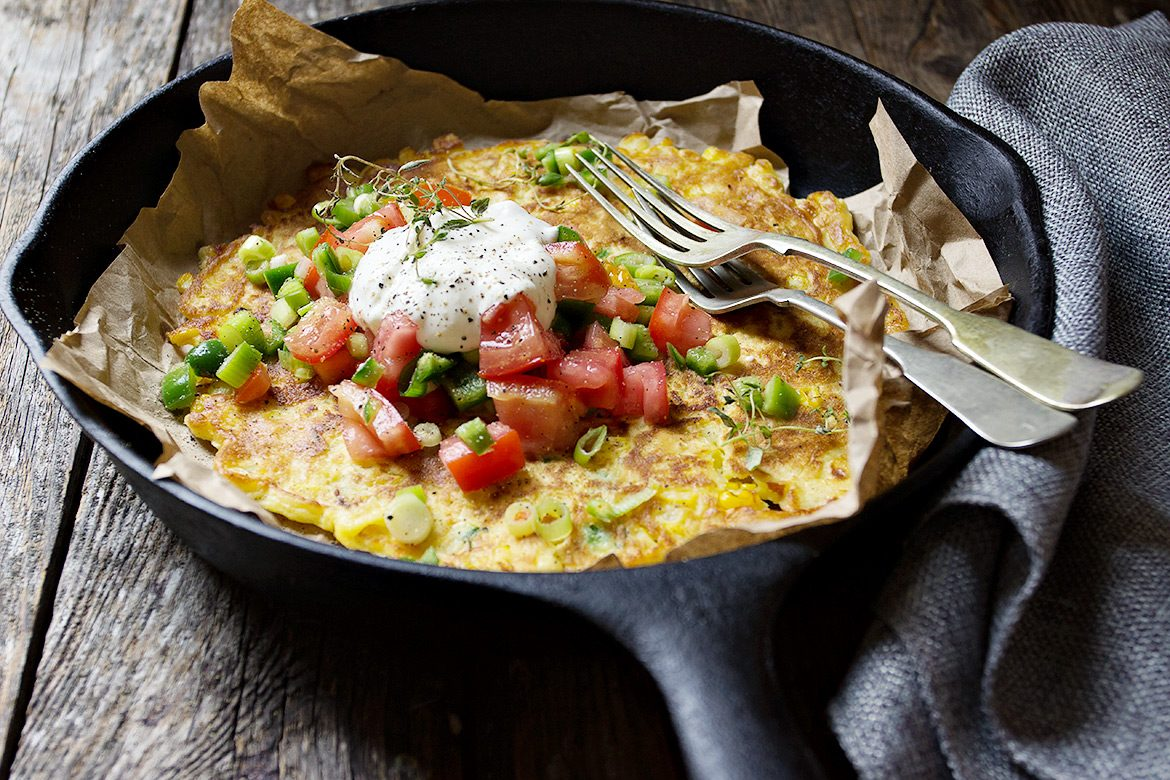 Corn Fritter Pancake with Fresh Salsa and Sour Cream
