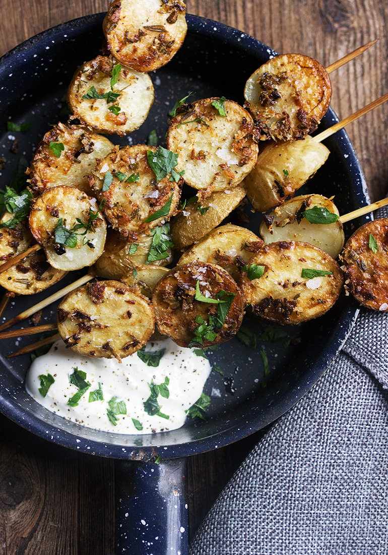 Herb and Garlic Roasted Potato Skewers