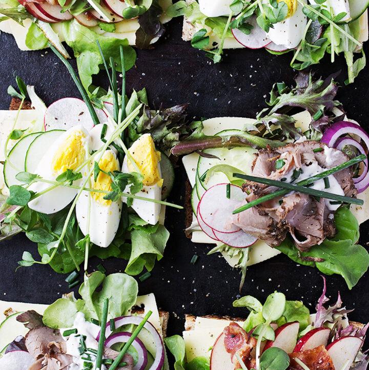 open faced Danish sandwiches