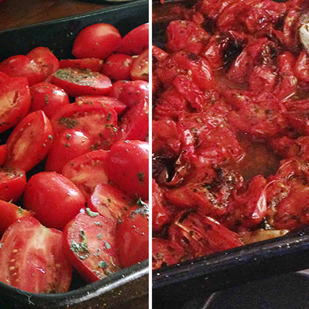 before and after roasting of tomatoes