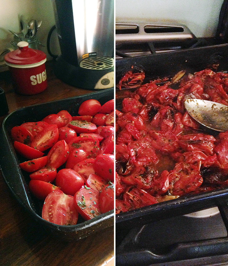 Big Batch Roasted Tomato Marinara Sauce - before and after cooking