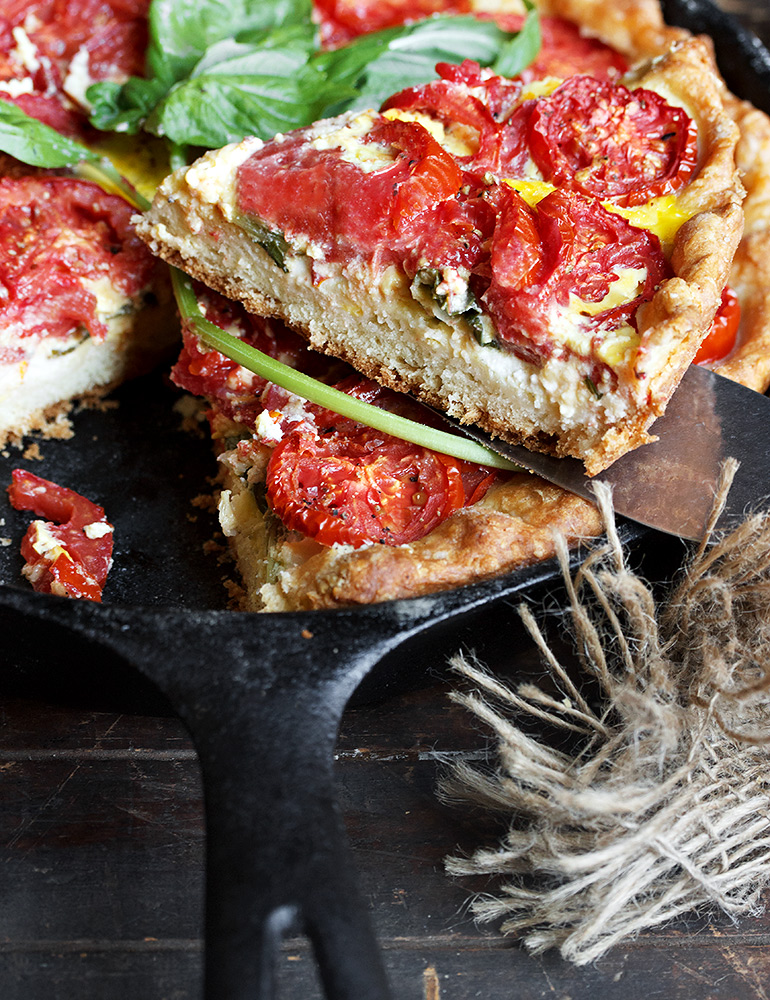 Tomato and Goat Cheese Pie with biscuit crust