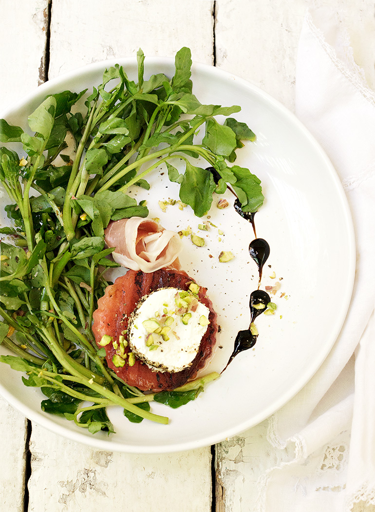 Grilled Watermelon Watercress Salad