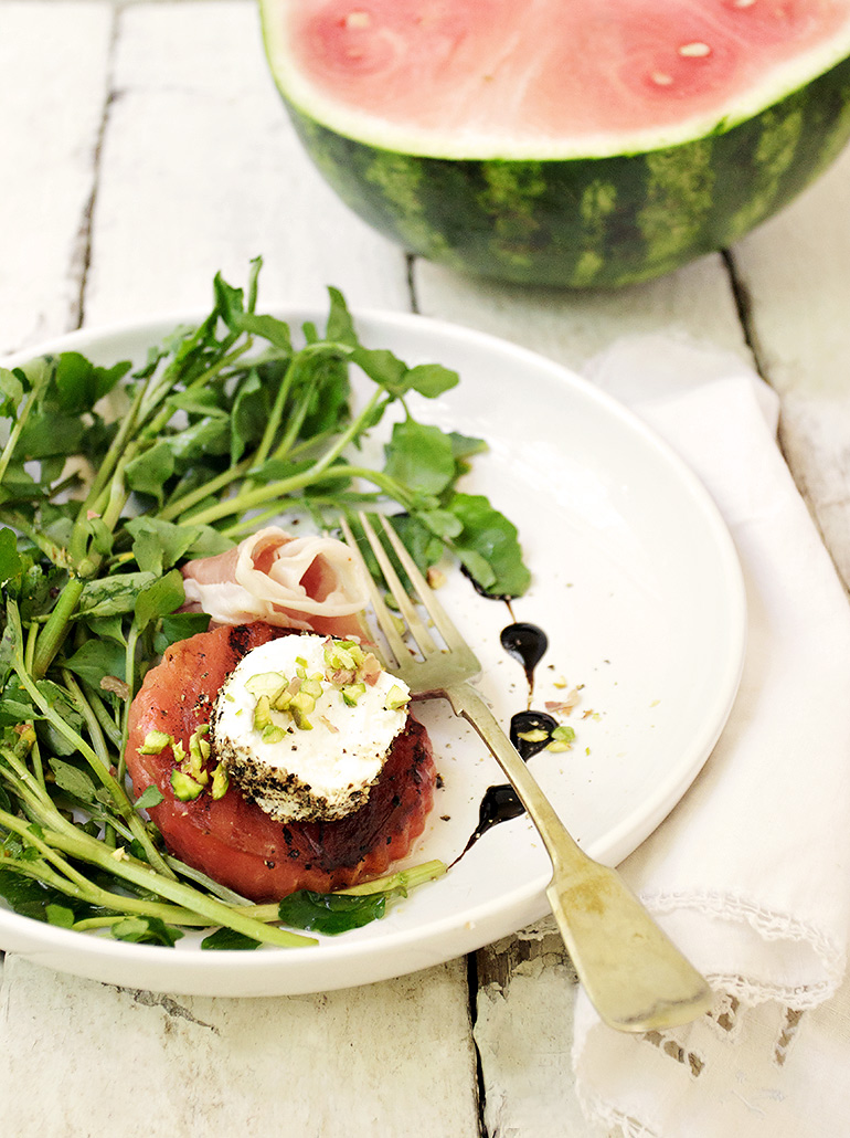 Grilled Watermelon and Watercress Salad