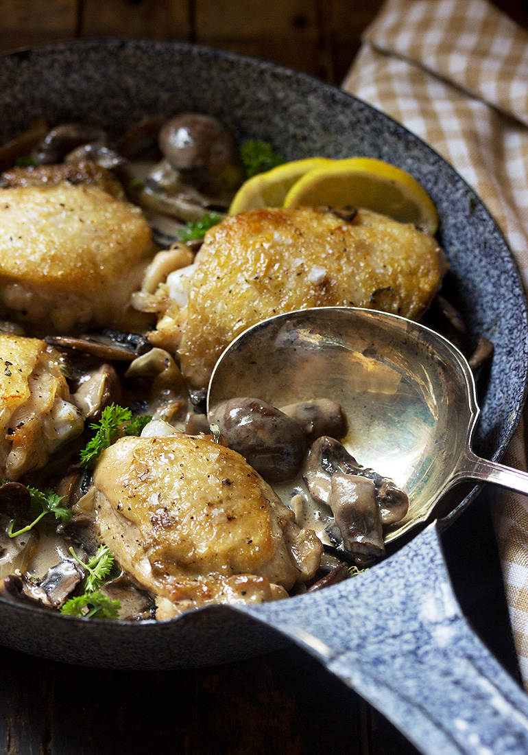 Chicken Thighs with Creamy Mushroom Sauce - Seasons and ...