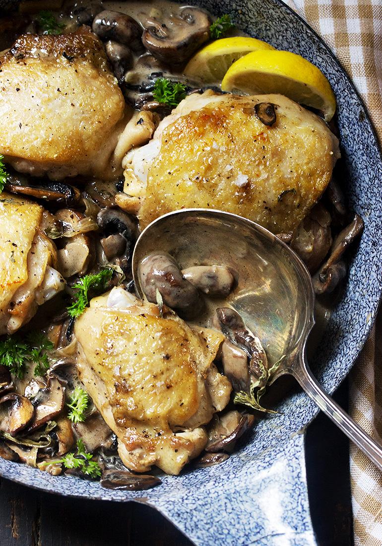 Chicken Thighs with Creamy Mushroom Sauce