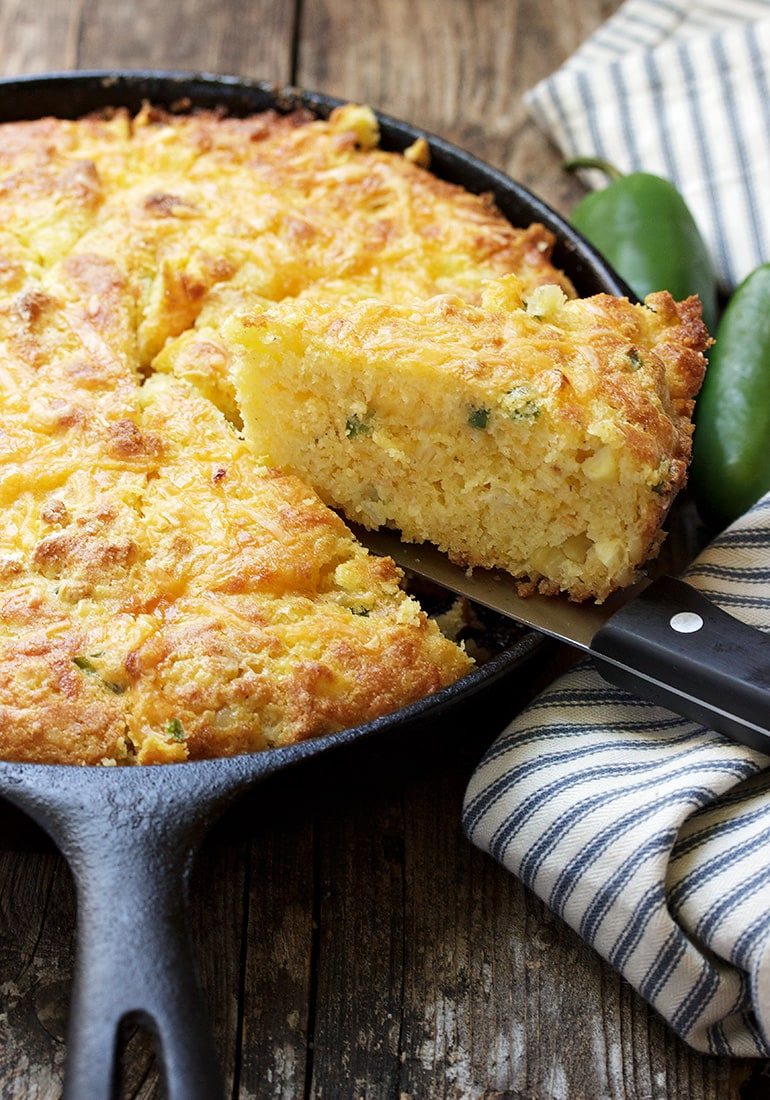 Super Moist Jalapeno and Cheese Skillet Cornbread
