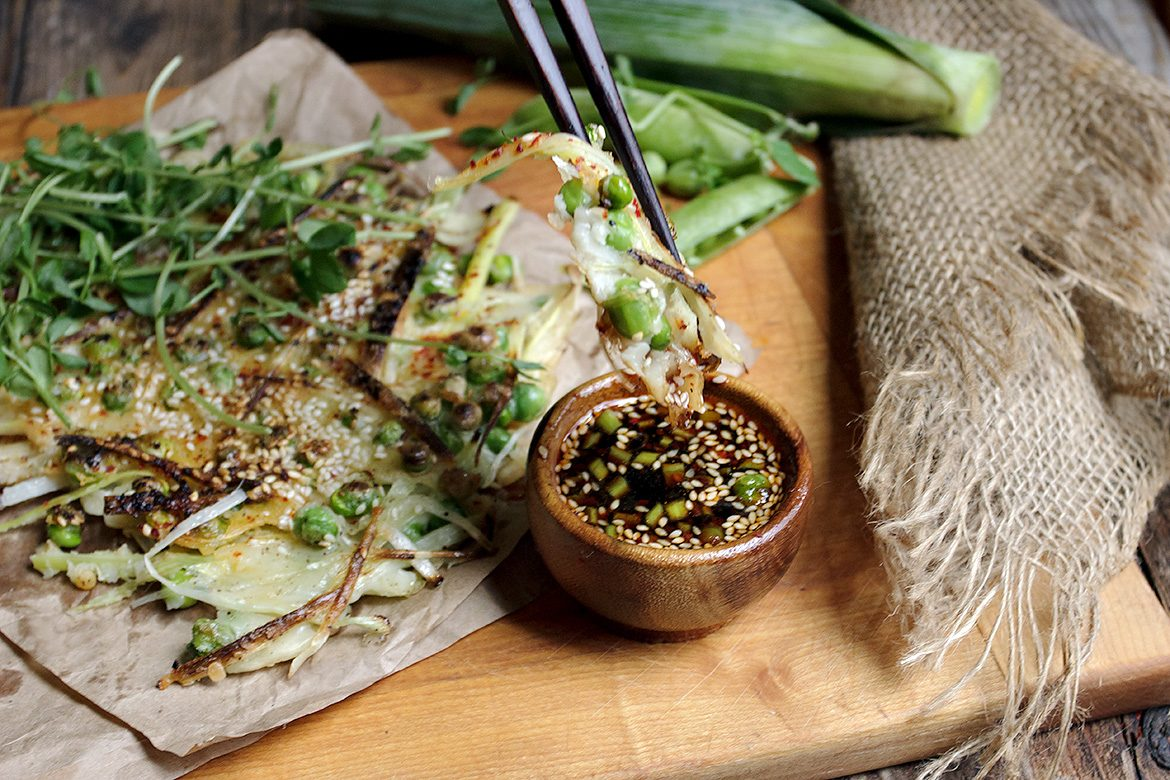 Garden Pea and Leek Pancake with Spicy Soy Dipping Sauce