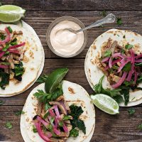 Porchetta Tacos with Rapini, Pickled Red Onion and Chipotle Mayo