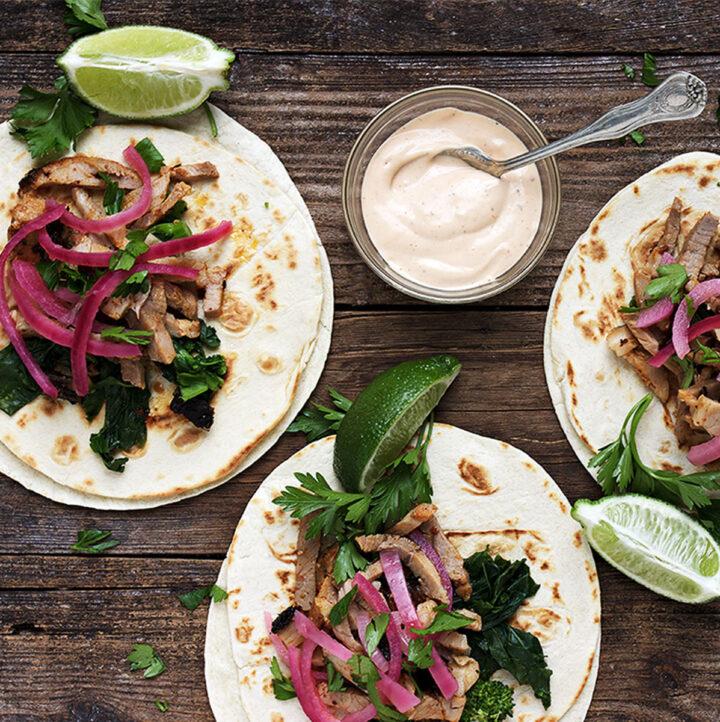 porchetta tacos on board