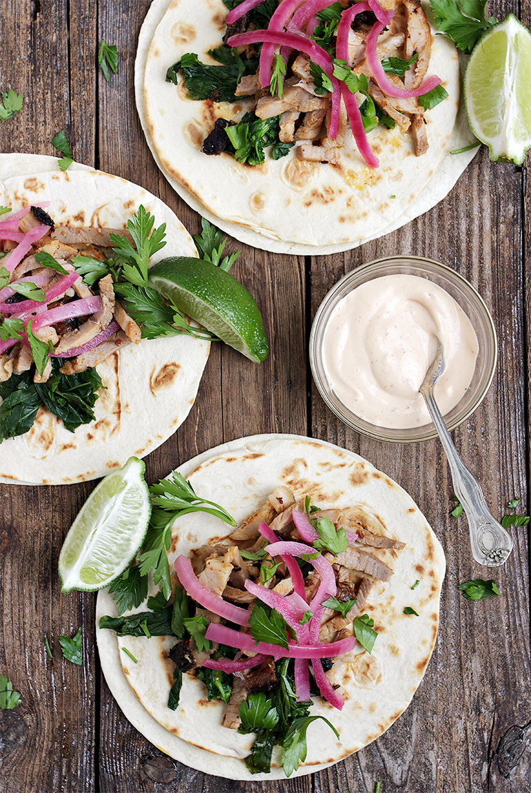 Porchetta Tacos with Broccoli Rabe, Pickled Onions and Chipotle Mayo