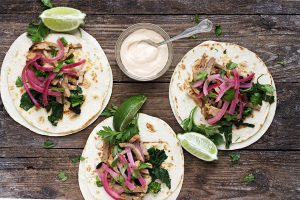 Porchetta Tacos with Rapini, Pickled Onions and Chipotle Mayo