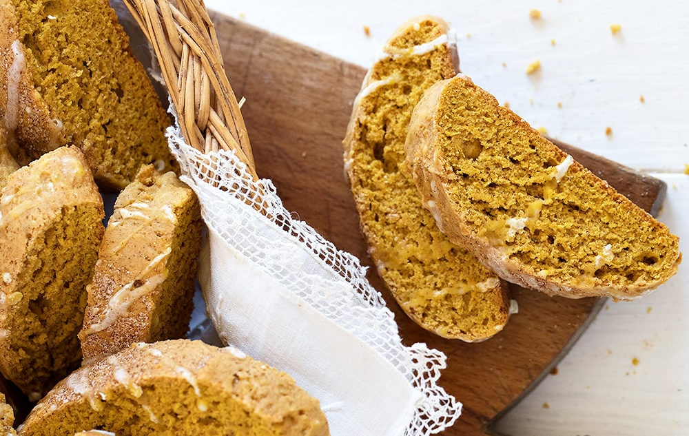 pumpkin biscotti in basket