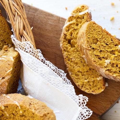 pumpkin biscotti in basket