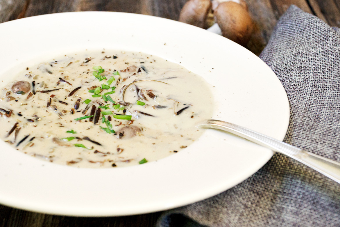 Wild Rice and Mushroom Soup with Maple Syrup