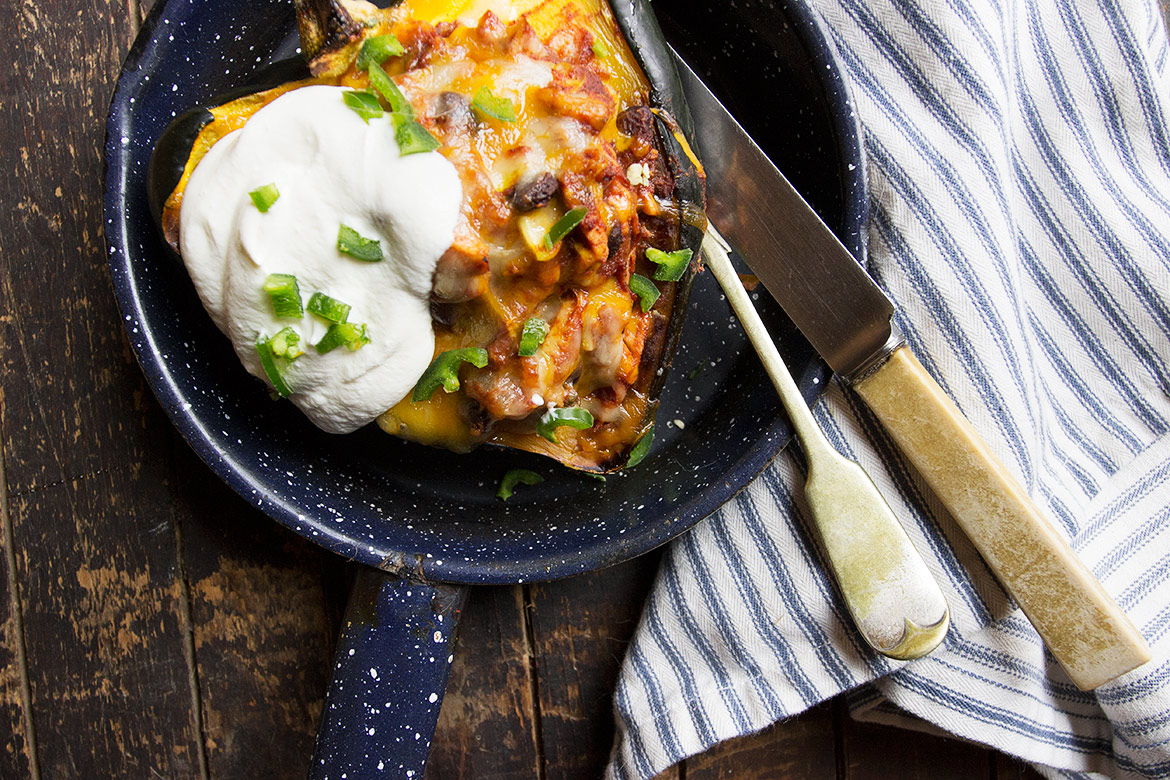 Turkey Enchillada-Filled Acorn Sqaush