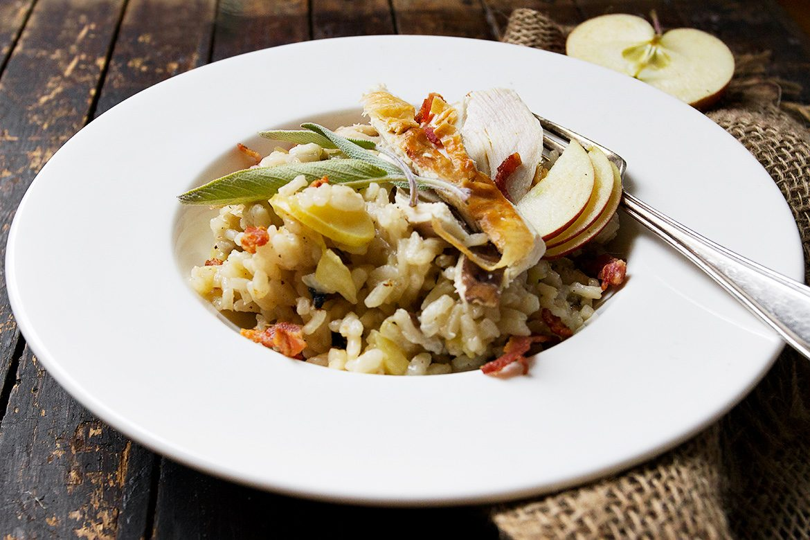 Apple Risotto with Mushrooms, Sage and Turkey