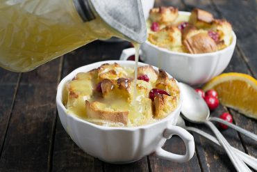 Cranberry Bread Pudding with Butter Sauce