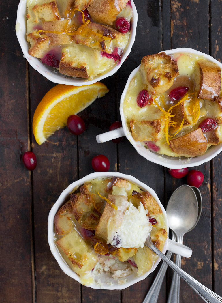 Cranberry Orange Bread Pudding with Butter Sauce