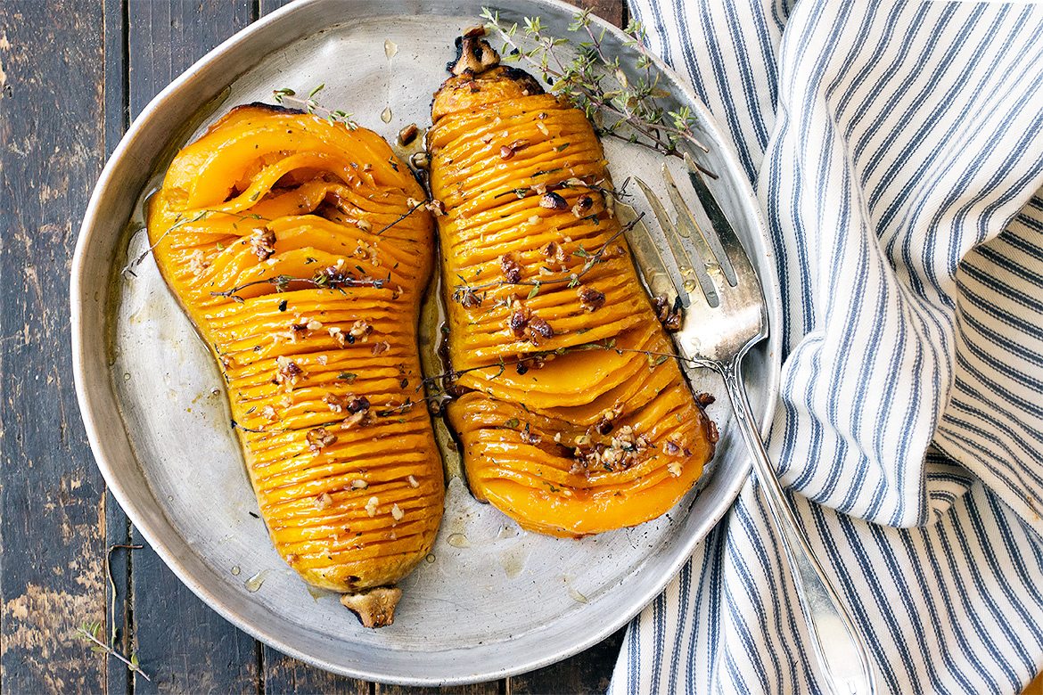 Maple Pecan Hasselback Butternut Squash | Homemade Vegan Thanksgiving Recipes For A Healthful Celebration