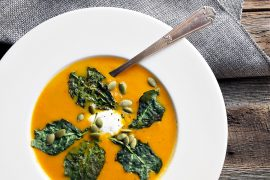 Roasted Carrot and Ginger Soup with Kale Chips and Whipped Goat Cheese