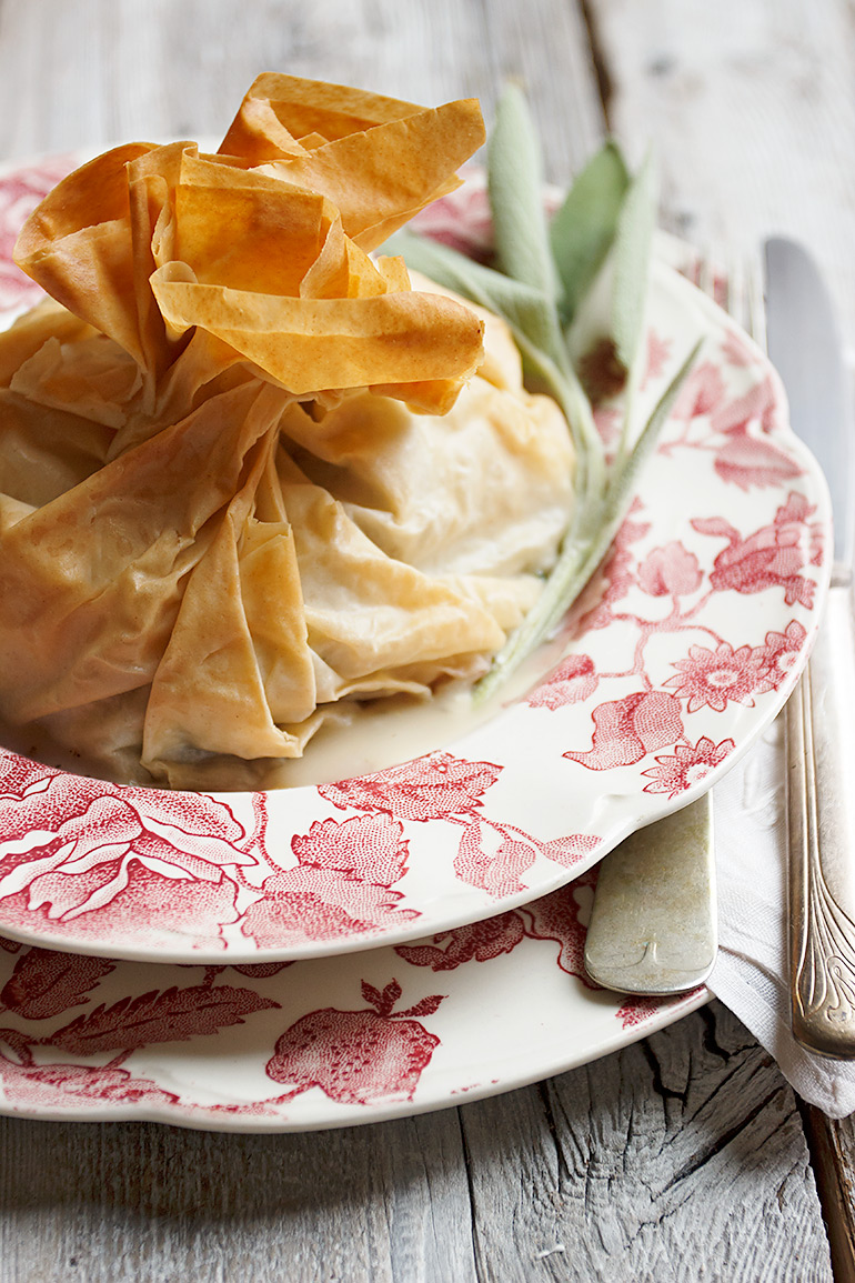 Turkey and Stuffing Phyllo Parcels