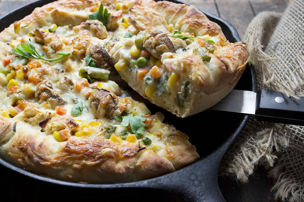 Skillet Turkey Pot Pie Pizza